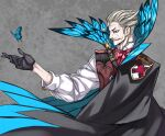 1boy black_gloves blue_eyes bug butterfly cape facial_hair fate/grand_order fate_(series) gloves grey_background grey_hair hair_slicked_back honjou_raita insect james_moriarty_(fate) long_sleeves male_focus mustache photoshop_(medium) solo vest