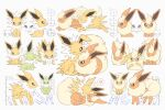 >_< alternate_color blue_eyes commentary_request crying flareon gen_1_pokemon green_eyes heart highres jolteon moco_font no_humans o_o one_eye_closed partially_colored paws pokemon pokemon_(creature) shiny_pokemon spoken_heart standing tears toes translation_request