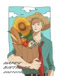 1boy apple bag baguette belt blonde_hair blue_shirt blue_sky border bread character_doll closed_mouth clouds collarbone commentary_request dated english_text flower food fruit grocery_bag hand_on_hip happy_birthday hat highres jujutsu_kaisen leaf loose_necktie male_focus mimaru_(mimaruramim) nanami_kento necktie orange_(food) red_neckwear shirt shopping_bag short_hair sky sleeves_rolled_up solo straw_hat sunflower sweat upper_body white_border