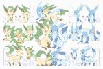 blue_eyes brown_eyes closed_eyes closed_mouth commentary_request eye_contact gen_4_pokemon glaceon highres leafeon looking_at_another looking_at_viewer lying moco_font no_humans on_stomach one_eye_closed open_mouth paws pokemon pokemon_(creature) sitting smile tearing_up toes translation_request