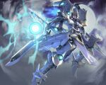 clouds dual_wielding energy_ball flying full_moon highres holding holding_sword holding_weapon ikaruga_(knight's_&_magic) itaco knight's_&_magic mecha moon no_humans sword weapon