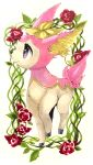 animal_focus closed_mouth commentary deer deerling deerling_(spring) flower full_body gen_5_pokemon happy highres marker_(medium) mofuo no_humans plant pokemon pokemon_(creature) red_flower red_rose rose smile solo standing traditional_media vines violet_eyes white_background