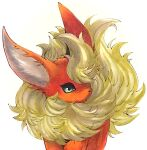 animal_focus commentary english_commentary flareon fluffy gen_1_pokemon green_eyes jpeg_artifacts marker_(medium) mofuo no_humans pokemon pokemon_(creature) simple_background solo standing traditional_media white_background