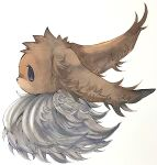 animal_focus black_eyes commentary ears_down eevee english_commentary fluffy from_side gen_1_pokemon highres mofuo no_humans no_mouth pokemon pokemon_(creature) profile simple_background solo upper_body white_background