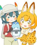 2girls :d animal_ear_fluff animal_ears backpack bag black_gloves blonde_hair blue_eyes blue_hair blush bow bowtie commentary_request elbow_gloves extra_ears gloves hat hat_feather kaban_(kemono_friends) kemono_friends lucky_beast_(kemono_friends) multiple_girls open_mouth print_legwear print_skirt red_shirt serval_(kemono_friends) serval_ears serval_print serval_tail shirt short_hair simple_background skirt smile tail thigh-highs wamakwp white_background white_headwear yellow_eyes