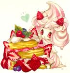 alcremie alcremie_(strawberry_sweet) alcremie_(vanilla_cream) blueberry cherry commentary cream english_commentary food food_focus fruit gen_8_pokemon hand_to_own_mouth hand_up heart highres leaf marker_(medium) mint mofuo notice_lines open_mouth oversized_food pancake pokemon pokemon_(creature) red_eyes simple_background solo standing strawberry traditional_media white_background