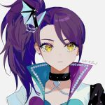 1girl bangs blue_jacket closed_mouth collar collarbone commentary_request earrings expressionless heart heart_collar heart_earrings high_collar highres idol_land_pripara jacket jewelry long_hair looking_away necklace nima_(nimamann) pretty_(series) pripara purple_hair purple_jacket side_ponytail sideways_glance simple_background solo stud_earrings toudou_shion translation_request two-sided_fabric two-sided_jacket upper_body white_background white_jacket yellow_eyes