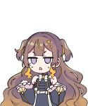 1girl anya_melfissa brown_hair chibi commentary earrings english_commentary gradient_hair hands_up hololive hololive_indonesia jewelry jitome long_hair looking_at_viewer multicolored_hair pochi_(pochi-goya) solo sweatdrop transparent_background triangle_mouth two_side_up violet_eyes