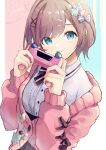 :3 absurdres blue_background blue_eyes bow brown_hair cardigan character_name controller hair_bow hair_ornament hat_pin highres holding holding_controller medium_hair nijisanji no_hat no_headwear ogura_tubuan pink_background pink_cardigan pink_sweater short_hair smile striped striped_bow suzuhara_lulu sweater two-tone_background vertical_stripes virtual_youtuber x_hair_ornament
