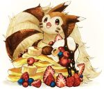 animal_focus banana banana_slice blueberry cherry chocolate commentary_request cream facial_mark fluffy food food_focus fruit furret gen_2_pokemon gradient gradient_background happy looking_up marker_(medium) mofuo no_humans open_mouth oversized_food pancake pokemon red_eyes simple_background smile solo strawberry traditional_media whisker_markings white_background