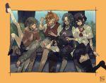 6+girls adapted_costume bench bullying bush highres houjuu_nue kasodani_kyouko kumoi_ichirin multiple_girls murasa_minamitsu nazrin school_uniform shade sokura_(mochichitose) tagme toramaru_shou touhou tree