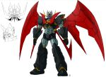 character_sheet highres looking_at_viewer mazinger_(series) mazinger_z mazinger_z:_infinity mazinkaiser_(robot) mecha mechanical_wings no_humans official_art open_hands science_fiction super_robot white_background wings yanase_takayuki yellow_eyes