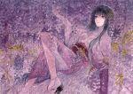 1girl black_hair flower hand_up japanese_clothes kimono knee_up lying on_back original potato_(popopopopo623) purple_kimono purple_theme sandals socks traditional_media watercolor_(medium) white_legwear wide_sleeves wisteria