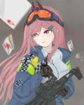 1girl 4urora absurdres bangs blush breasts brown_jacket card closed_mouth eyebrows_visible_through_hair eyewear_on_head girls'_frontline grey_background highres holding holding_weapon jacket long_hair looking_away pink_hair playing_card police police_uniform red_eyes shirt sig_mcx_(girls'_frontline) solo uniform weapon white_shirt