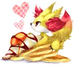 animal_ear_fluff chocolate closed_mouth commentary english_commentary fennekin food fried_egg from_side gen_6_pokemon happy heart highres looking_up marker_(medium) mofuo pancake pokemon pokemon_(creature) profile red_eyes simple_background smile sunny_side_up_egg traditional_media white_background