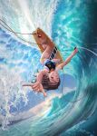 blue_nails blue_sky breasts brown_eyes brown_hair clip_studio_paint_(medium) dutch_angle grin highres kobu_ride large_breasts mountainous_horizon ocean original sky smile sports_bikini surfboard surfing tan tanlines waves