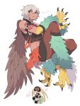 2girls abs absurdres animal_feet arm_strap arm_tattoo bare_shoulders bird_legs blonde_hair brown_feathers brown_wings character_request claws commentary copyright_request feathered_wings feathers green_feathers grey_hair harpy highres inu_fuji midriff monster_girl multiple_girls muscular muscular_female pointy_ears red_eyes shadow short_hair simple_background talons tan tattoo white_background wings