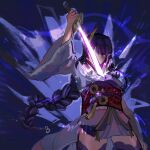 1girl arm_up bangs braid breasts commentary covered_mouth dinogranola english_commentary eyebrows_visible_through_hair genshin_impact glowing glowing_sword glowing_weapon hair_ornament highres holding holding_sword holding_weapon japanese_clothes katana kimono long_hair long_sleeves looking_at_viewer medium_breasts one_eye_covered purple_hair raiden_(genshin_impact) sash sheath simple_background solo sword tassel unsheathing violet_eyes vision_(genshin_impact) weapon wide_sleeves