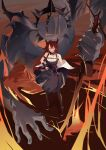 1girl absurdres arknights collar demon demon_girl demon_horns dress hand_on_hip highres holding horns huge_filesize jacket looking_at_viewer redhead shenling22 spiked_collar spikes standing surtr_(arknights) sword thigh-highs violet_eyes weapon