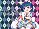 1girl :d alice_(alice_in_wonderland) alice_(alice_in_wonderland)_(cosplay) alice_in_wonderland bangs blue_dress blue_hair blue_headwear club_(shape) commentary_request cosplay dated diamond_(shape) dress eyebrows_visible_through_hair feet_out_of_frame frilled_dress frilled_sailor_collar frills hair_bun hair_ribbon happy_birthday hat head_tilt heart langbazi looking_at_viewer love_live! love_live!_sunshine!! mini_hat object_hug open_mouth pocket_watch puffy_short_sleeves puffy_sleeves ribbon sailor_collar sailor_dress short_sleeves side_bun signature smile solo spade_(shape) striped striped_legwear stuffed_animal stuffed_bunny stuffed_toy thigh-highs tsushima_yoshiko upper_teeth violet_eyes watch white_rabbit_(alice_in_wonderland) white_ribbon white_sailor_collar