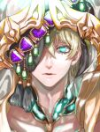 1boy aladdin_(sinoalice) arabian_clothes blonde_hair blue_eyes corruption glowing glowing_eyes headdress highres looking_at_viewer male_focus ogamiomi one_eye_covered open_mouth parted_lips short_hair sinoalice solo veil