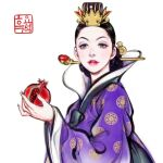 1girl 2020 adobe_fresco alternate_costume alternate_hairstyle black_hair crown disney dress duplicate evil_queen food fruit green_eyes grimhilde_(disney) hanbok high_collar holding holding_food holding_fruit korean_clothes korean_traditional_hair_ornament korean_traditional_hat pixel-perfect_duplicate pomegranate print_dress purple_dress purple_robe raised_eyebrows red_lips snow_white_and_the_seven_dwarfs solo traditional_clothes traditional_dress white_background woohnayoung