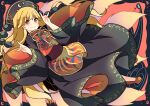 1girl absurdres bangs belt black_background black_dress black_headwear black_sleeves blonde_hair bow brown_belt chinese_clothes closed_mouth crescent dress energy eyebrows_visible_through_hair hair_between_eyes hands_up hat haya_taro_pochi highres holding junko_(touhou) long_hair long_sleeves orange_eyes pom_pom_(clothes) red_background red_footwear red_vest shoes smile solo touhou vest water wide_sleeves yellow_bow yellow_neckwear