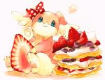 :3 animal_ears audino blue_eyes blueberry body_fur bow closed_mouth commentary cream dessert food food_focus fruit furry gen_5_pokemon hair_bow happy heart highres holding holding_food marker_(medium) mofuo notice_lines oversized_food pancake pawpads paws pink_fur pokemon pokemon_(creature) polka_dot polka_dot_bow red_bow simple_background sitting smile solo traditional_media two-tone_fur white_background white_fur