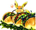 alolan_form alolan_raichu animal_focus blush_stickers closed_mouth commentary_request food food_focus gen_7_pokemon green_eyes happy heart in_food ketchup leaning_forward lettuce licking_lips looking_at_viewer marker_(medium) meat mofuo no_humans notice_lines oversized_food pokemon pokemon_(creature) sandwich simple_background smile solo standing tongue tongue_out traditional_media white_background