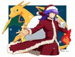 1boy alternate_costume bangs charizard coat commentary_request cowboy_shot facial_hair fire flame fur-trimmed_coat fur-trimmed_headwear fur_trim gen_1_pokemon grin hand_up hat highres holding holding_sack leon_(pokemon) long_hair long_sleeves male_focus morio_(poke_orio) pants pokemon pokemon_(creature) pokemon_(game) pokemon_swsh purple_hair red_coat red_headwear red_pants sack santa_hat smile snowflakes spread_fingers teeth yellow_eyes
