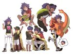 2boys arm_up bangs barefoot baseball_cap brothers cape carrying champion_uniform character_doll charizard clenched_hand closed_eyes commentary_request dark-skinned_male dark_skin fur-trimmed_cape fur_trim gen_1_pokemon grin hand_up hat highres hop_(pokemon) korean_commentary leggings leon_(pokemon) long_hair lower_teeth male_focus multiple_boys open_mouth pokemon pokemon_(game) pokemon_swsh purple_hair red_cape redlhzz shield_print shirt shoes short_hair short_shorts short_sleeves shorts siblings smile spread_legs standing sword_print teeth thought_bubble toes v white_legwear white_shorts yellow_eyes younger