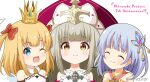 3girls ;d ^_^ anniversary bangs bare_shoulders blonde_hair blue_eyes blue_hair blush bow brown_eyes brown_hair character_request closed_eyes closed_mouth commentary_request crown eyebrows_visible_through_hair feathered_wings hair_bow hair_ornament hat long_hair loussier_ellerensia maaru_(shironeko_project) miicha mini_crown multiple_girls one_eye_closed open_mouth purple_headwear red_bow shironeko_project shirt simple_background smile twitter_username two_side_up white_background white_shirt white_wings wings