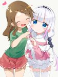 2girls :d ^_^ bangs beads black_hairband blue_eyes blunt_bangs brown_hair capelet center_frills child closed_eyes commentary_request frilled_capelet frills green_shirt hair_beads hair_ornament hairband heart heart_hands heart_hands_duo highres kanna_kamui kobayashi-san_chi_no_maidragon long_hair long_sleeves looking_at_viewer low_twintails makuran multiple_girls open_mouth red_skirt saikawa_riko shirt short_sleeves silver_hair simple_background skirt smile thigh-highs twintails white_background white_legwear