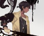 1boy arknights black_hair black_shirt brown_coat closed_mouth coat commentary_request dark-skinned_male dark_skin ear_clip expressionless from_side gloves grey_background holding holding_sword holding_weapon ink jewelry looking_away male_focus marumarukin necklace open_clothes open_coat orange_eyes profile shirt short_hair short_ponytail simple_background solo sword tentacle_grab tentacles tentacles_on_male thorns_(arknights) upper_body weapon white_gloves