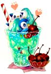 afloat animal_focus blue_eyes blush bowl bubble cherry closed_mouth commentary cup drinking_glass drinking_straw food food_focus freckles fruit gen_4_pokemon gen_5_pokemon heart highres ice_cream ice_cream_float in_food marker_(medium) mofuo no_humans notice_lines oshawott oversized_food partially_submerged piplup pokemon pokemon_(creature) simple_background soda striped traditional_media white_background