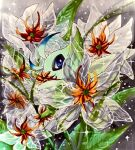 antennae blue_eyes celebi commentary_request covered_mouth dew_drop fairy fairy_wings flower gen_2_pokemon grey_background highres leaf legendary_pokemon looking_at_viewer marker_(medium) mofuo mythical_pokemon no_humans orange_flower outdoors pokemon pokemon_(creature) solo sparkle traditional_media transparent water water_drop white_flower wings
