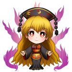 1girl bangs belt blonde_hair bow breasts chibi chinese_clothes closed_mouth crescent dress energy eyebrows_visible_through_hair grey_dress grey_headwear grey_sleeves hair_between_eyes hands_up hat hoshii_1213 junko_(touhou) legacy_of_lunatic_kingdom long_hair long_sleeves looking_at_viewer medium_breasts pom_pom_(clothes) red_belt red_eyes red_vest simple_background smile solo standing touhou very_long_hair vest white_background wide_sleeves yellow_bow yellow_neckwear