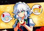 >_< 1girl :d apple bangs blonde_hair blue_hair bow braid closed_mouth eyebrows_visible_through_hair fang flandre_scarlet food fruit green_bow green_eyes grey_hair hair_bow hat holding holding_food holding_fruit holding_knife izayoi_sakuya knife looking_at_viewer maid maid_headdress mob_cap one_side_up open_mouth peeling pink_headwear puffy_short_sleeves puffy_sleeves qqqrinkappp red_apple remilia_scarlet short_hair short_sleeves side_braids skin_fang smile solid_oval_eyes solo thought_bubble touhou traditional_media twin_braids upper_body white_headwear