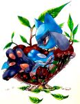 1boy animal_ears black_fur blue_fur body_fur bowl cherry child closed_mouth commentary dew_drop english_commentary feet food from_side fruit full_body furry gen_4_pokemon highres holding holding_food in_food leaf male_focus mofuo oversized_food pawpads paws pokemon pokemon_(creature) profile red_eyes riolu sideways_mouth simple_background sitting snout solo tail transparent two-tone_fur water_drop white_background wolf_boy wolf_ears wolf_tail