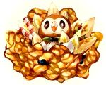 animal_focus banana banana_slice black_sclera blueberry blush brown_theme closed_mouth colored_sclera commentary_request cream crepe dessert food food_focus fruit gen_7_pokemon ice_cream_cone light_blush looking_at_viewer marker_(medium) mofuo no_humans pokemon pokemon_(creature) rowlet simple_background solo traditional_media wafer_stick white_background white_eyes