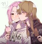!? 2girls bangs bangs_pinned_back black_hoodie blush brown_hair closed_eyes closed_mouth d4dj embarrassed eyebrows_visible_through_hair food food_on_face gradient_hair grey_hoodie hand_up hood hood_down hoodie ice_cream ice_cream_cone inuyose_shinobu jewelry licking licking_face long_hair long_sleeves multicolored_hair multiple_girls orange_hair pink_hair profile ring ring_necklace royyy999 simple_background sleeves_past_wrists spoken_interrobang star_(symbol) sweatdrop symbol_commentary tongue upper_body wavy_mouth white_background yamate_kyouko yellow_eyes yuri