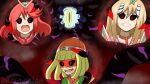 alternate_eye_color angry arms_(game) beanie black_sclera blonde_hair colored_sclera corruption crossover dark_persona dharkon glowing glowing_eyes hal_laboratory hat highres kiravera8 long_hair looking_at_viewer monolith_soft nintendo open_mouth possessed red_eyes redhead short_hair slit_pupils super_smash_bros. tentacles veins watermark xeno_(series) xenoblade_chronicles_(series) xenoblade_chronicles_2