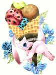 animal_focus blue_eyes blue_flower commentary_request flower food food_focus from_side full_body gen_1_pokemon highres ice_cream ice_cream_cone legendary_pokemon looking_at_viewer marker_(medium) mew mofuo mythical_pokemon no_humans oversized_food pawpads pokemon pokemon_(creature) solo traditional_media waffle_cone white_background