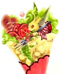 animal_focus baguette bow bread brown_eyes closed_mouth commentary_request crepe food food_focus fork from_side gen_4_pokemon happy heart highres holding holding_fork in_food leafeon marker_(medium) mofuo no_humans notice_lines oversized_food oversized_object pawpads pokemon pokemon_(creature) red_bow simple_background smile solo striped striped_bow tomato tomato_slice traditional_media white_background