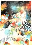 1girl arms_behind_back black_background dress green_eyes long_hair looking_at_viewer original potato_(popopopopo623) sky solo star_(sky) starry_sky traditional_media watercolor_(medium) white_hair
