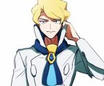 1boy ascot blonde_hair blue_eyes blue_neckwear closed_mouth commentary_request elite_four hand_up high_collar looking_at_viewer male_focus morio_(poke_orio) pokemon pokemon_(game) pokemon_xy shirt short_hair siebold_(pokemon) simple_background solo upper_body white_background white_shirt