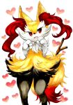 1girl animal_ear_fluff animal_ears animal_nose black_fur body_fur braixen commentary english_commentary flat_chest fox_ears fox_girl fox_tail furry gen_6_pokemon hands_up happy heart heart_background highres looking_at_viewer marker_(medium) mofuo open_mouth pokemon pokemon_(creature) red_eyes simple_background smile snout solo standing stick tail traditional_media white_background white_fur yellow_fur