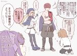 1boy 3girls artoria_pendragon_(all) artoria_pendragon_(caster)_(fate) bangs belt blonde_hair blush cape cloak coat commentary_request crossed_arms emiya_shirou fate/grand_order fate_(series) fujimaru_ritsuka_(female) full_body green_eyes hair_ornament hat igote kneeling limited/zero_over multiple_girls no7star open_mouth orange_hair pantyhose pulling purple_hair red_eyes redhead scathach_(fate)_(all) scathach_skadi_(fate) scrunchie sengo_muramasa_(fate) sharp_teeth side_ponytail simple_background skirt smile teeth translation_request twitter_username white_background white_cape yellow_eyes