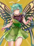 1girl antennae aqua_hair bangs butterfly_wings closed_mouth cowboy_shot dress eternity_larva eyebrows_visible_through_hair green_dress koizumo leaf leaf_on_head looking_at_viewer single_strap smile solo standing touhou wings yellow_background yellow_eyes yellow_wings
