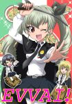 3girls anchovy_(girls_und_panzer) anzio_(emblem) anzio_school_uniform cape carpaccio_(girls_und_panzer) carro_veloce_cv-33 chibi commentary_request cover cover_page doujin_cover dress_shirt drill_hair emblem girls_und_panzer ground_vehicle hair_ribbon hanzou italian_text long_hair long_sleeves looking_at_viewer military military_vehicle motor_vehicle multiple_girls necktie one_eye_closed pepperoni_(girls_und_panzer) pleated_skirt ribbon riding_crop school_uniform semovente_75/18 shirt short_hair skirt sparkle standing tank twin_drills twintails wing_collar